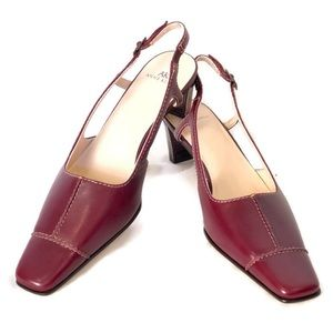 "NEW ANNE KLEIN ""Elyse"" Leather SLINGBACK HEELS"